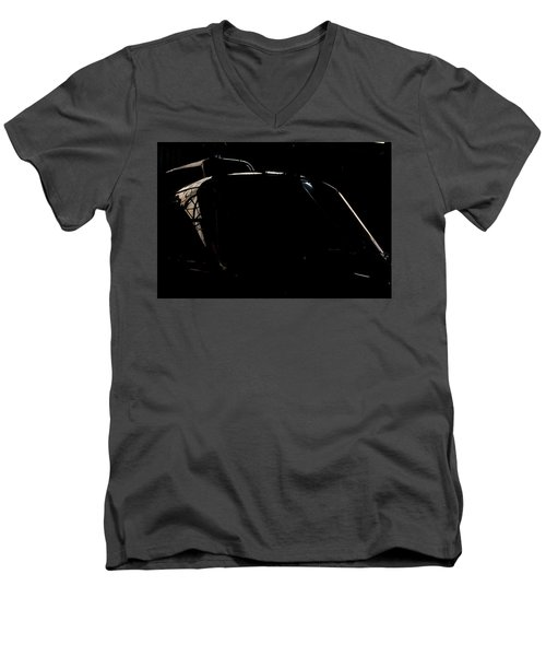 Men's V-Neck T-Shirt featuring the photograph Reflective Helicopter Outline by Paul Job