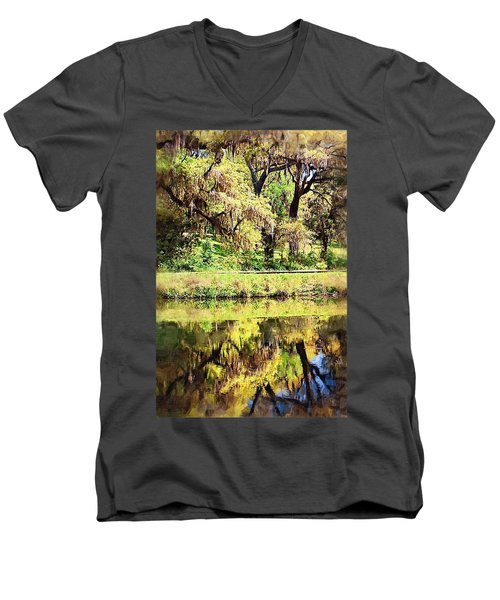 Men's V-Neck T-Shirt featuring the photograph Reflective Live Oaks by Donna Bentley