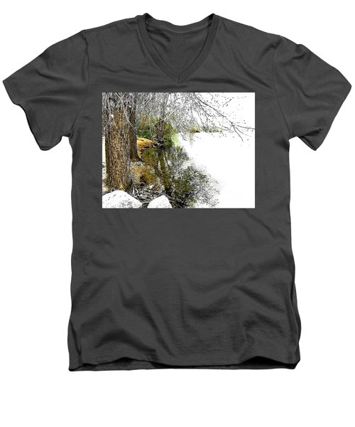 Reflective Trees Men's V-Neck T-Shirt by Deborah Nakano