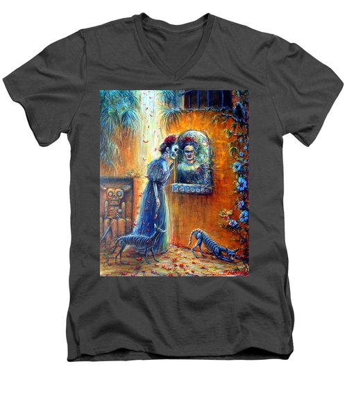 Men's V-Neck T-Shirt featuring the painting Reflejo De Frida by Heather Calderon