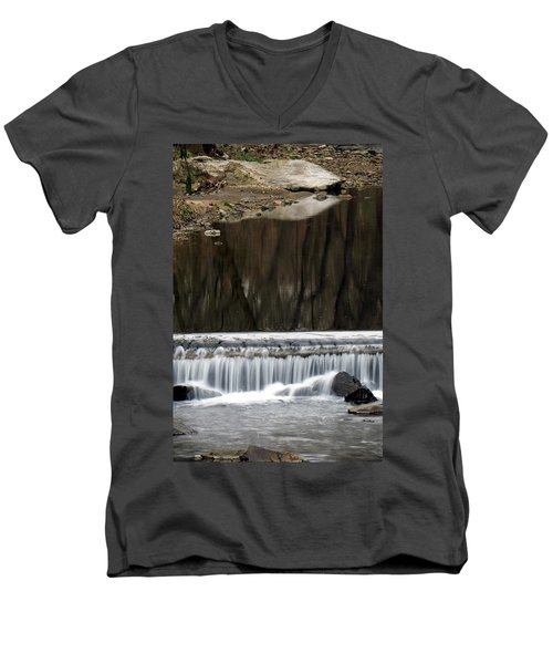 Men's V-Neck T-Shirt featuring the photograph Reflexions And Water Fall by Dorin Adrian Berbier