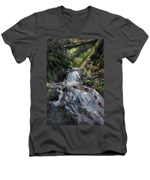 Men's V-Neck T-Shirt featuring the painting Refreshed - Rainforest Waterfall Impressionistic Painting by Karen Whitworth