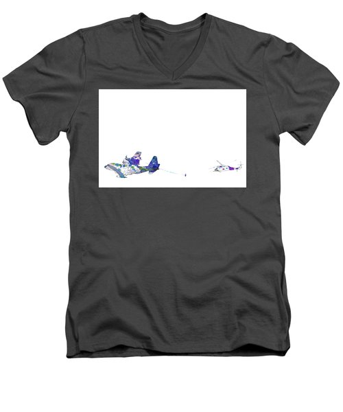 Men's V-Neck T-Shirt featuring the digital art Refueling Watercolor On White by Bartz Johnson