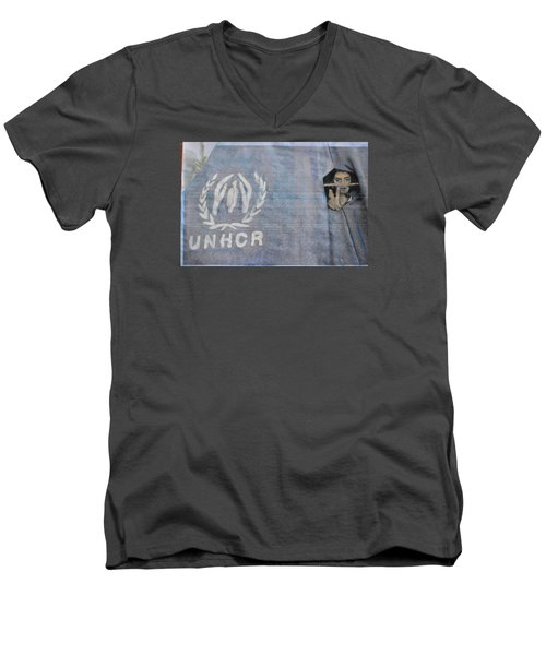 Men's V-Neck T-Shirt featuring the painting Refugees Syria by Vikram Singh
