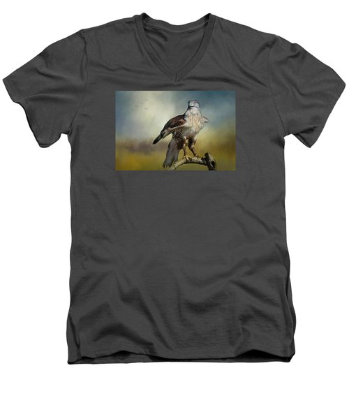 Men's V-Neck T-Shirt featuring the photograph Regal Bird by Barbara Manis