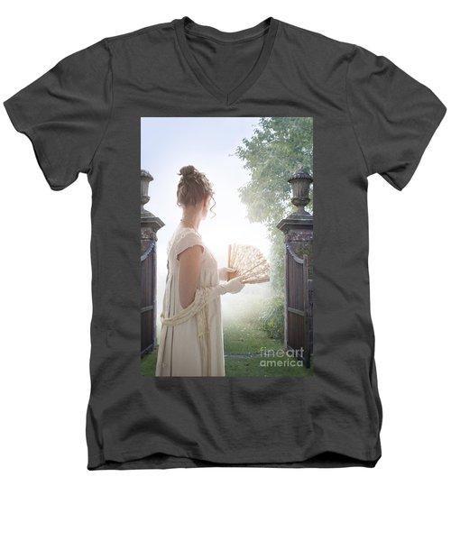 Regency Woman Looking Through A Gateway Men's V-Neck T-Shirt