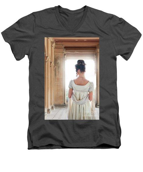 Regency Woman Under A Colonnade Men's V-Neck T-Shirt by Lee Avison