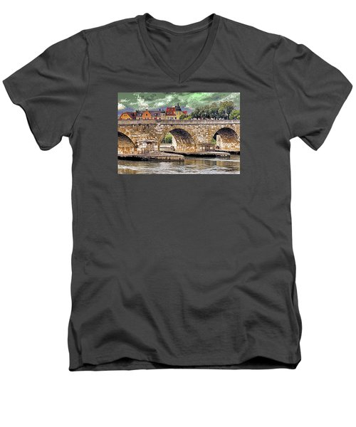 Regensburg Stone Bridge Men's V-Neck T-Shirt by Dennis Cox WorldViews