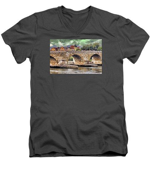Regensburg Stone Bridge Men's V-Neck T-Shirt
