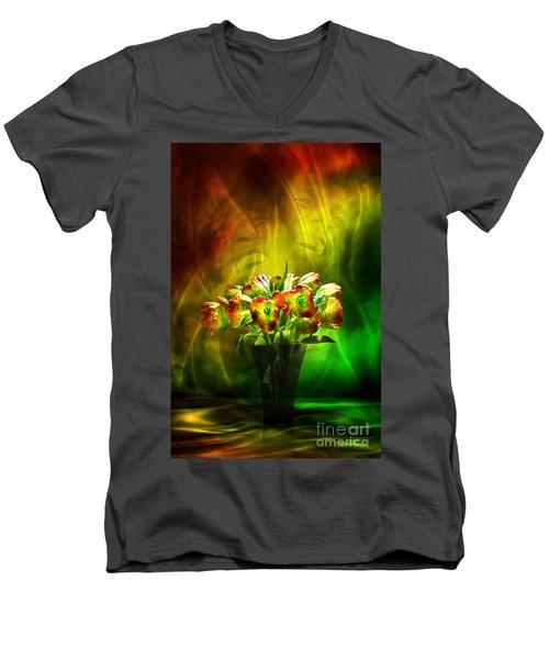 Men's V-Neck T-Shirt featuring the digital art Reggae Tulips by Johnny Hildingsson