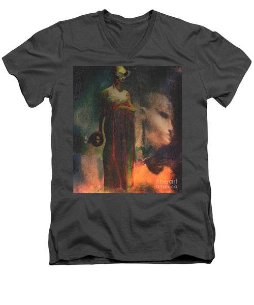 Men's V-Neck T-Shirt featuring the digital art Reincarnation by Alexis Rotella