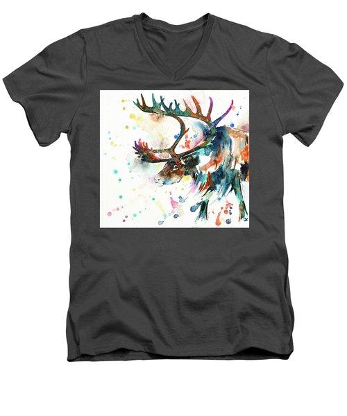 Men's V-Neck T-Shirt featuring the painting Reindeer by Zaira Dzhaubaeva
