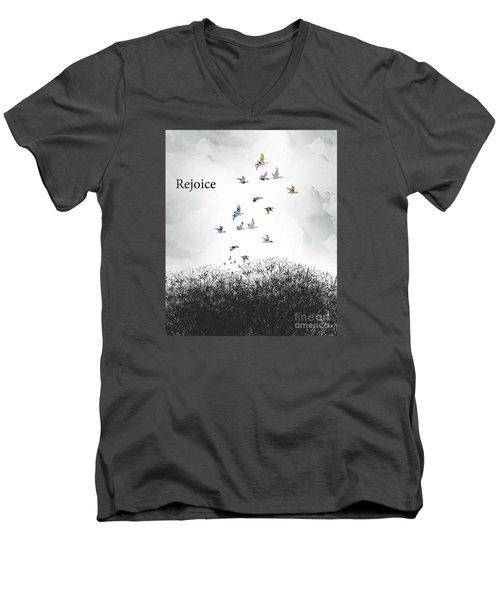 Men's V-Neck T-Shirt featuring the digital art Rejoice by Trilby Cole