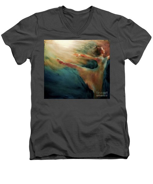 Men's V-Neck T-Shirt featuring the painting Releasing Of The Soul by FeatherStone Studio Julie A Miller