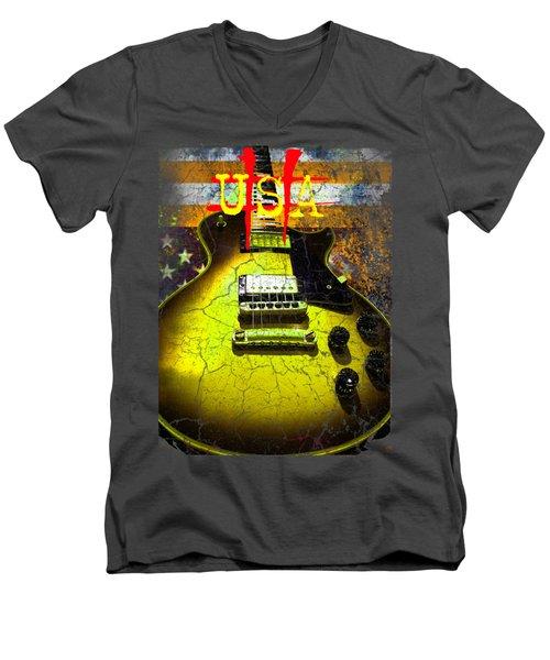 Relic Guitar Music Patriotic Usa Flag Men's V-Neck T-Shirt