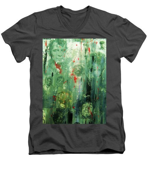 Men's V-Neck T-Shirt featuring the painting Remembering Kerouac by Roberto Prusso