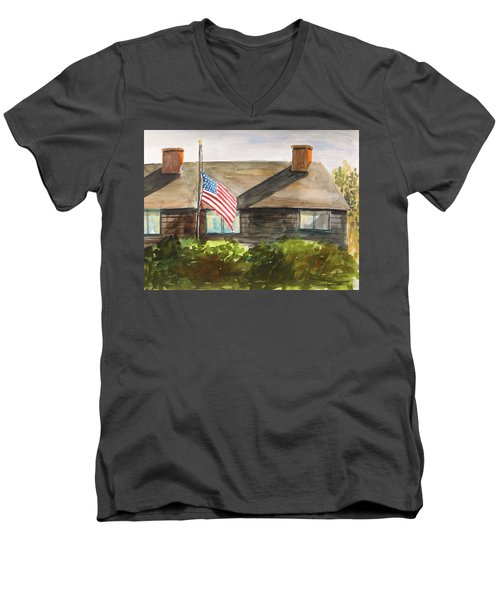 Men's V-Neck T-Shirt featuring the painting Remembering Patriot Day by John Williams
