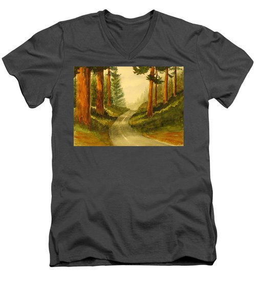 Men's V-Neck T-Shirt featuring the painting Remembering Redwoods by Marilyn Jacobson