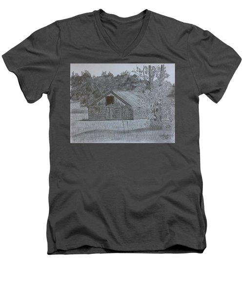 Remote Cabin Men's V-Neck T-Shirt by Tony Clark