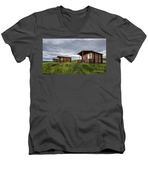 Men's V-Neck T-Shirt featuring the photograph Remote Cabins Myvatn Iceland by Edward Fielding