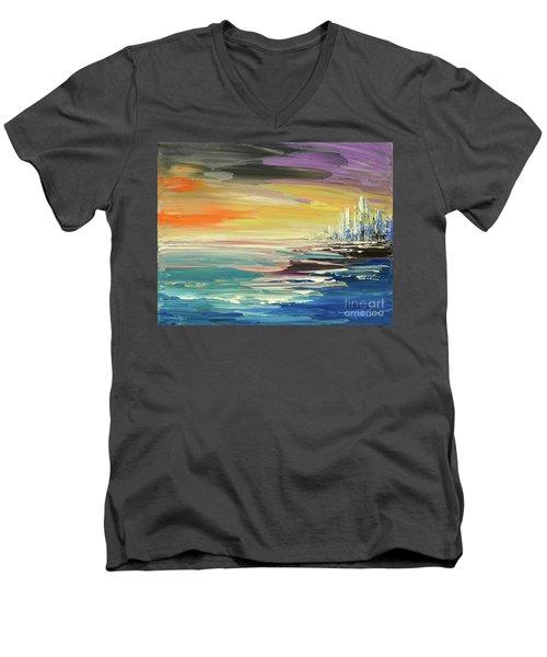 Men's V-Neck T-Shirt featuring the painting Remote Harmonies by Tatiana Iliina