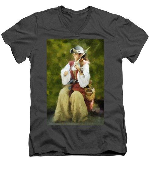 Renaissance Fiddler Lady Men's V-Neck T-Shirt by Francesa Miller