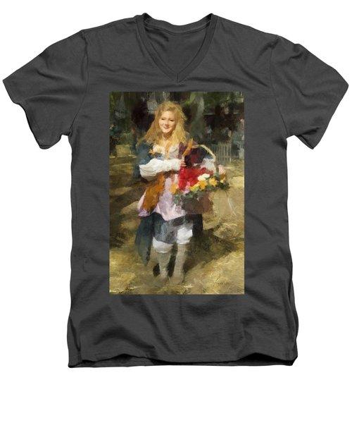 Renaissance Flower Lady Men's V-Neck T-Shirt by Francesa Miller
