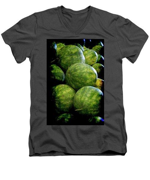 Renaissance Green Watermelon Men's V-Neck T-Shirt