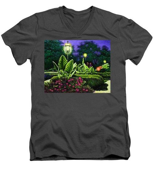 Rendezvous In The Park Men's V-Neck T-Shirt by Michael Frank