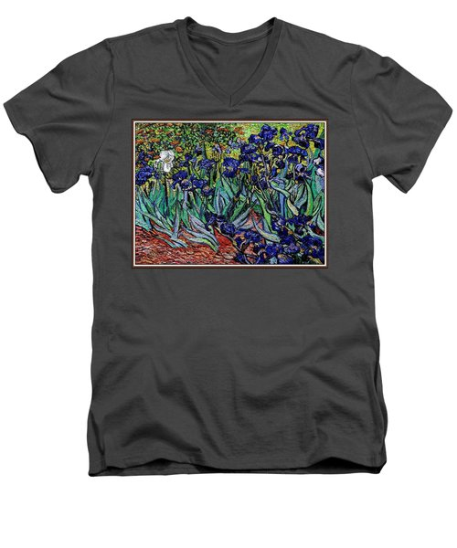 Men's V-Neck T-Shirt featuring the digital art replica of Van Gogh irises by Pemaro