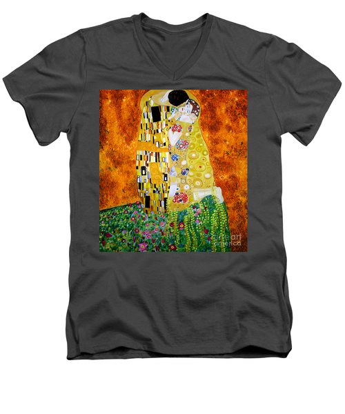 Men's V-Neck T-Shirt featuring the painting Reproduction Of The Kiss By Gustav Klimt by Zedi