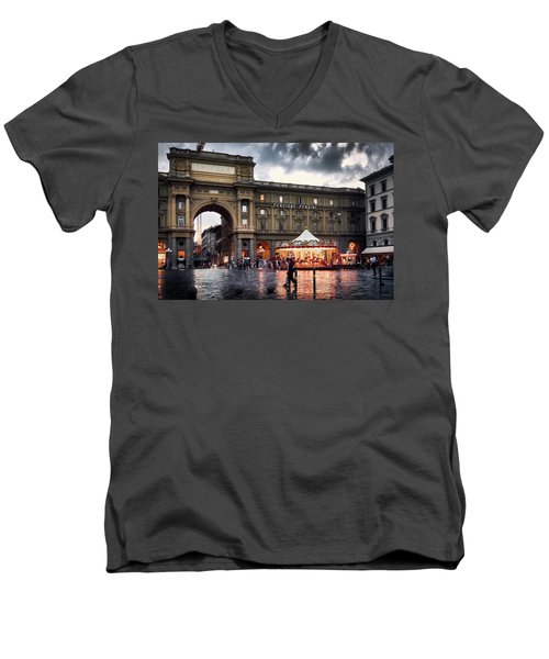 Republic Square In The City Of Florence Men's V-Neck T-Shirt