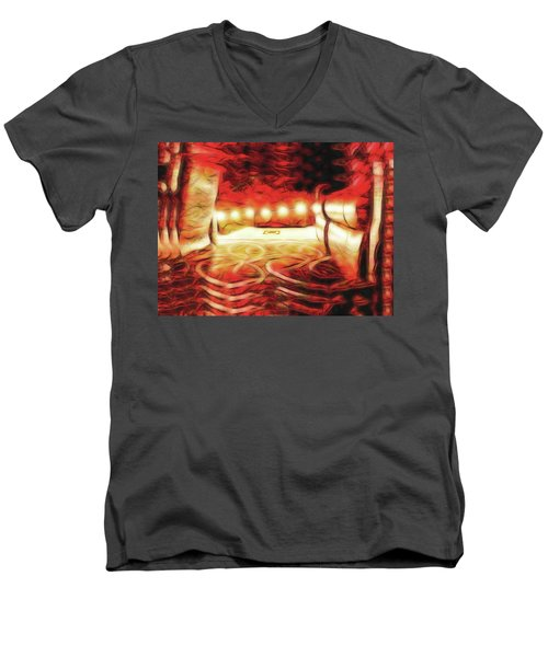 Men's V-Neck T-Shirt featuring the digital art Reservations - Row C by Wendy J St Christopher