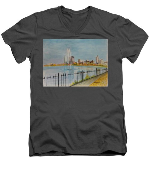Reservoir In Central Park Men's V-Neck T-Shirt