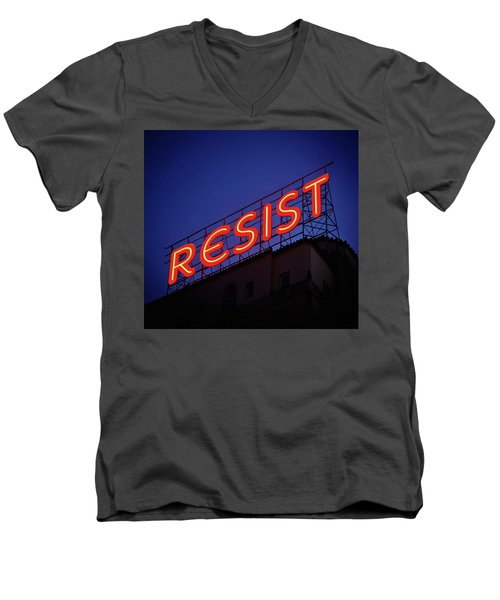 Resistance Neon Lights Men's V-Neck T-Shirt