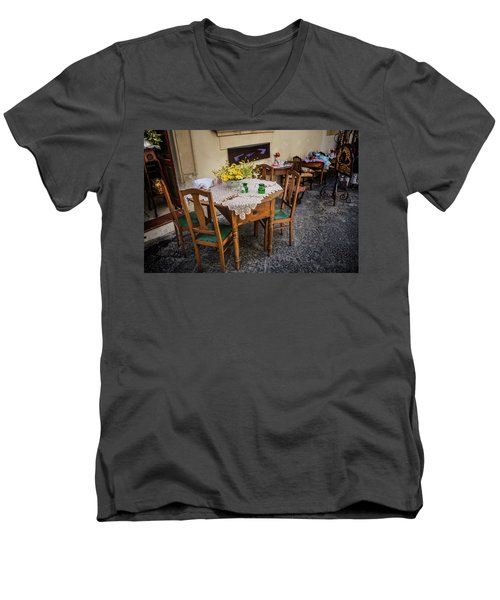 Restaurant In Sicily  Men's V-Neck T-Shirt by Patrick Boening