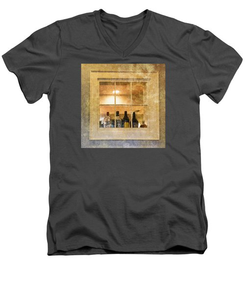 Men's V-Neck T-Shirt featuring the photograph Restaurant Window by Tom Singleton