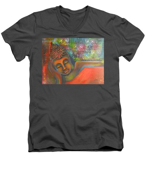 Men's V-Neck T-Shirt featuring the painting Buddha Resting Against A Colorful Backdrop by Prerna Poojara