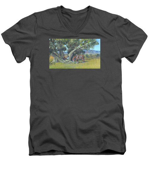 Men's V-Neck T-Shirt featuring the painting Resting Cowboy Painting A Study by  Luczay