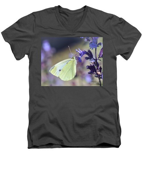 Men's V-Neck T-Shirt featuring the photograph Resting In The Purple by Kerri Farley