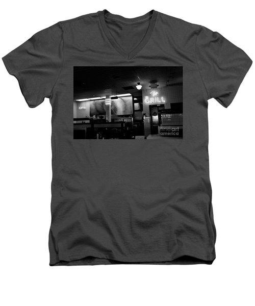 Retro Diner In Athens, Georgia -black And White Men's V-Neck T-Shirt
