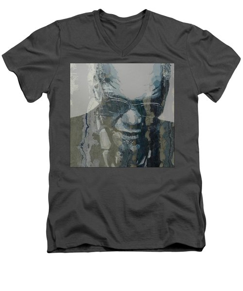 Men's V-Neck T-Shirt featuring the mixed media Retro / Ray Charles  by Paul Lovering
