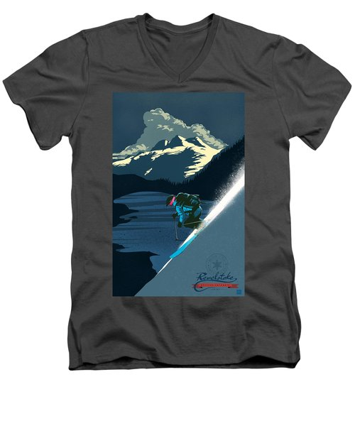 Retro Revelstoke Ski Poster Men's V-Neck T-Shirt