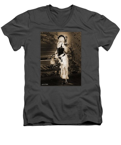 Retro Steam Punk Vixen Men's V-Neck T-Shirt