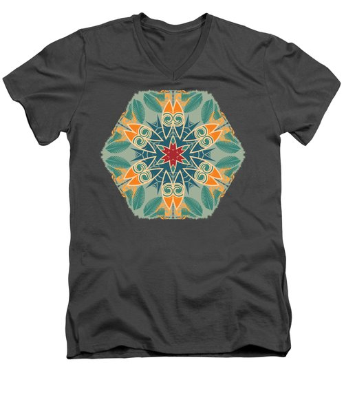 Men's V-Neck T-Shirt featuring the photograph Retro Surfboard Woodcut by Mary Machare