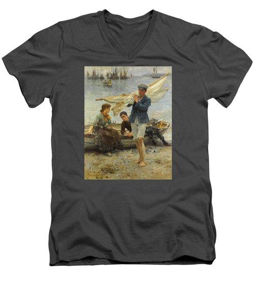Return From Fishing Men's V-Neck T-Shirt by Henry Scott Tuke