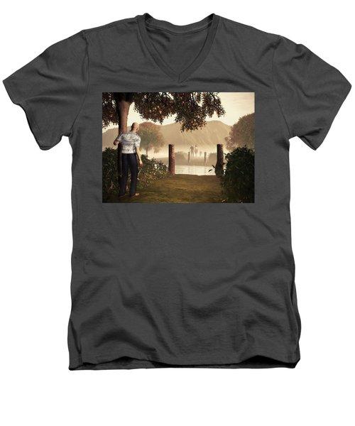 Returning To The Bridge That Burned Men's V-Neck T-Shirt