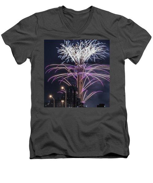 Reunion Tower Fireworks Men's V-Neck T-Shirt