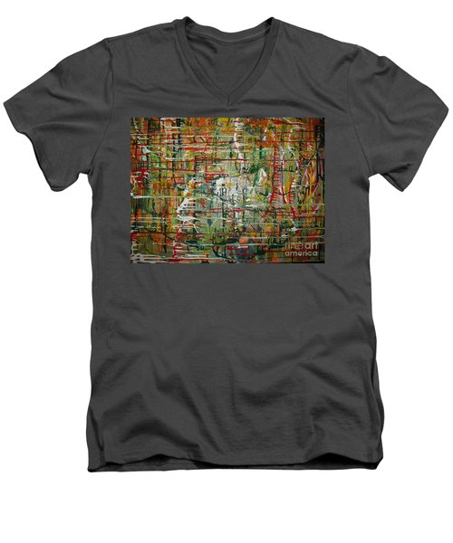 Men's V-Neck T-Shirt featuring the painting Revelation by Jacqueline Athmann