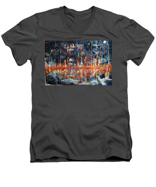 Revelations 20_ 14-15 Men's V-Neck T-Shirt by Gary Smith